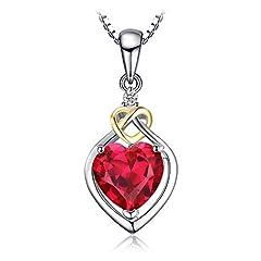 Idea Regalo - JewelryPalace Amore Knot Cuore 2.5ct Sintetico Rosso Rubino 925 Sterling Argento 18K Giallo Oro Anniversario Pendente Collana 45cm