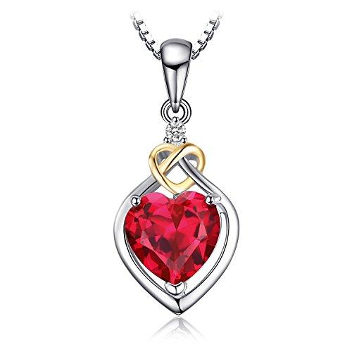 JewelryPalace Love Knot Heart 2.5ct Erstellt Rot Rubin Jubiläum Anhänger 925 Sterling Silber 18K Gelbgold
