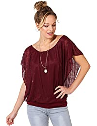 KRISP® Damen 2in1 Oversize Chiffon Fledermaus Top mit Schmuck