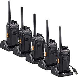 Retevis RT27 Talkie Walkie sans Licence Professionnel Rechargeable Portable PMR446 VOX Scan Surveillance 16 Canaux Port USB de Chargement (Noir, 5pcs)