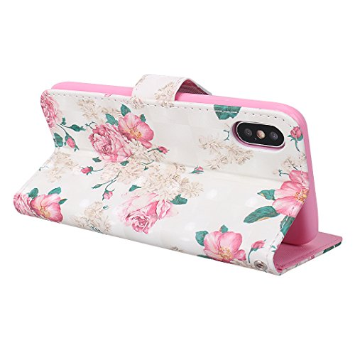 Etui iPhone X Case,Coque Cuir iPhone X Housse Apple Case Rosa Schleife Folio Cuir Portefeuille Ultra Slim Leather Wallet arriere Housse Téléphone etui de protection [3D Peint Motif]Pochette etui a rab Thirteen