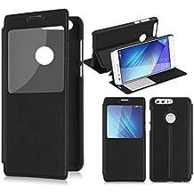 Cover Honor 8, Lincivius®, Custodia Huawei Honor 8 Portafoglio Flip Case Nero Slim Case Wallet Protettiva S View Finestra Di Visualizzazione - Altri colori disponibili -