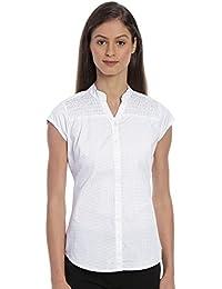 Bombay High Women's 100% Cotton Mandarin Collar Printed Polka Dot Shirt