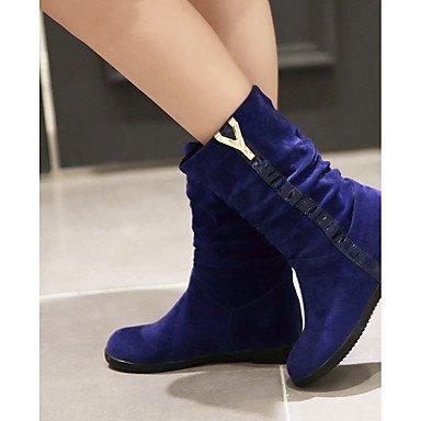 Coeur & M Womens Faux Cuir Chaussures Hiver Confortable Bottes De Neige Low Booties Bout Rond Mi Mollet Bottes Avec Ruffles Pour Casual Rouge