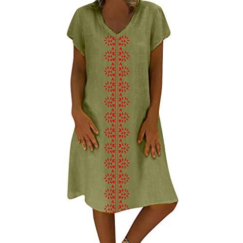 SUCES Damen Strandkleid Sommer Kleid Lässig Große Groß Kleider Womens Locker Sommerkleid Einfach Dress Elegantes Partykleid Minikleider Blusenkleider (Grün-1, M)