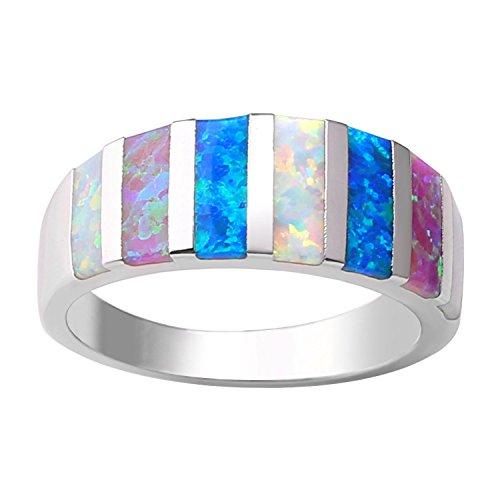 KELITCH Ringe Damen Frauen Bunt Streifen Muster Opal Ring 925 Sterling Silber Überzogen - Größe 9 (59mm) (Mens Silber 9 Größe Sterling Ring)