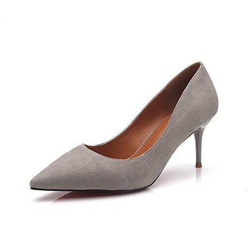 Punta di alta scarpe tacco elegante e versatile carriera scarpe singola bocca poco profonda e sottile di raso sexy notte con il vostro negozio. Gray