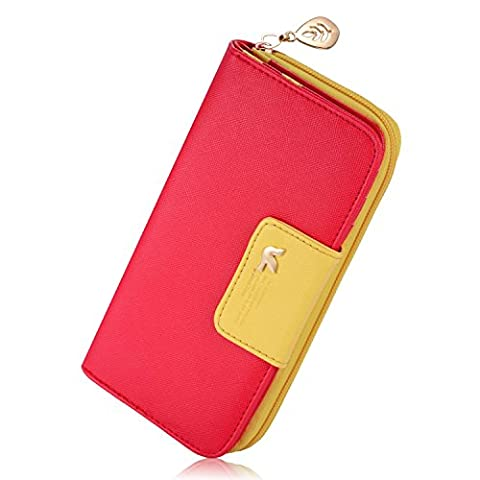 Feililong Women's Multi-card Position Two Fold Long Zipper Purse Wallet Red