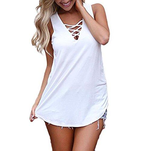 MCYs Damen SommerÄrmellos V-Ausschnitt Solide Weste Lose BluseT-Shirt Camisole Oberteile Criss CrossCami Tank Tops Bandage Hemd (XL, Weiß) (Criss Cross Cami)