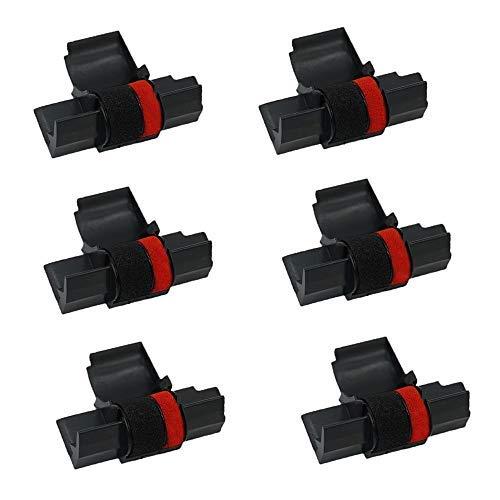 Printerfield 6 Stück Ribbon Farbrolle Tintenrolle für IR-40T Registrierkasse Rechner Drucker-Schwarz/Rot
