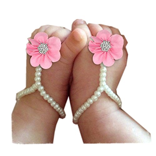 Säuglingsperle Schuhe Fuß Chiffon Kleinkind Rosa 1pair Ring Baby Zahuihuim Barfuß Schöne 8IXdwaxq