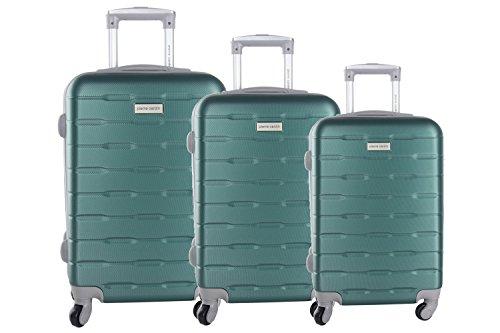 3 Maletas rígidas PIERRE CARDIN verde 4 ruedas cabina para viajes VS19