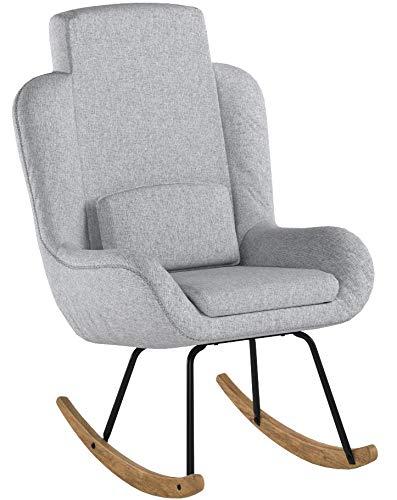 FineBuy Schaukelstuhl Corey Grau Design Relaxsessel 75 x 110 x 88,5 cm   Sessel Stoff/Holz   Schwingsessel mit Gestell   Polster Relaxstuhl...