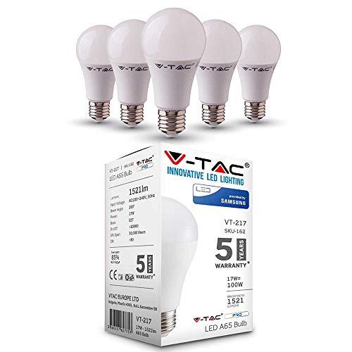 100w Glühbirne Lumen (LED Lampe mit Samsung LED | E27 5er PACK | LED A65 Birnen | 17 Watt 1521 Lumen | Leuchtmittel ersetzt Glühbirne 100 Watt | Warmweiß 3000K | Abstrahlwinkel 200° | Nicht Dimmbar | 5 Jahre Garantie)