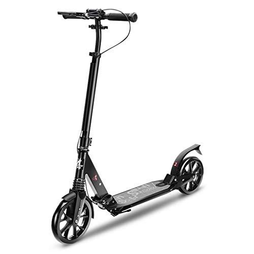 Dreiradscooter Schwarzer Erwachsener Roller mit Handbremse, faltende Tretroller, Geburtstagsgeschenke für Kinder ab 10 Jahren Unterstützung 100kg - Spielzeug Elektro-mädchen Fahrt Auf