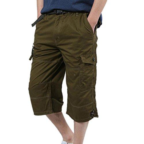 Preisvergleich Produktbild Kurzehose Herren,  Sonnena Männer Sommer Freizeit Übergröße Cargo Shorts Bermuda Hose Herren Lose Elastisch Baggy Arbeitshose Sommerhose (M,  Gelb)