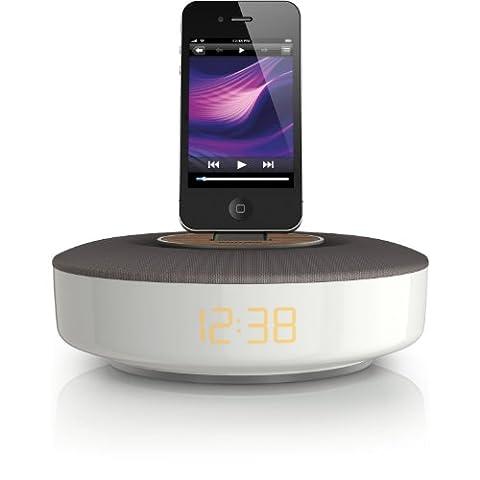 Philips DS1150/12 Dockingsystem (geeignet für iPod/iPhone 3/3S/4/4S, Equalizer, Uhr, Wecker-, Internetradio-App, Nachtlicht) silber/grau