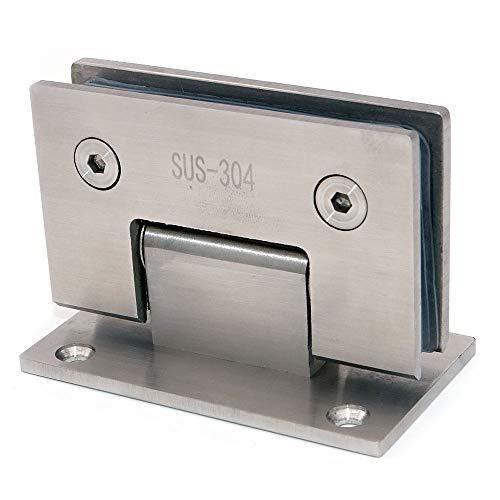 41bkoC1zUNL - Juego de 2 bisagras de puerta de vidrio NUZAMAS, soportes, bisagra de la puerta de la ducha Montado en la pared Panel de vidrio de 8-12 mm adecuado, 80-100cm Puerta, 90 grados de cierre y apertura