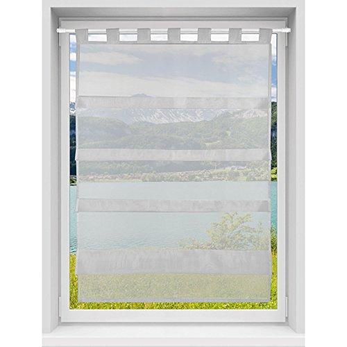 Transparente Bistrogardine Raffoptik Raffgardine Voile, Schlicht und Modern in Vielen Verschiedenen Farben erhältlich (80 x 110 cm/Grau - Mausgrau)