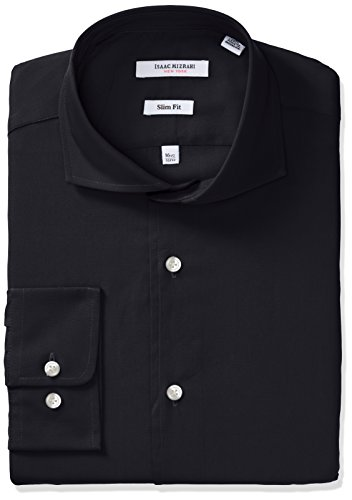 isaac-mizrahi-mens-slim-fit-solid-broadcloth-cut-away-collar-dress-shirt-black-15-neck-32-33-sleeve