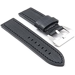 DASSARI Sierra Vintage Aged Leather Watch Band for panerai in Black size 24/24 24mm