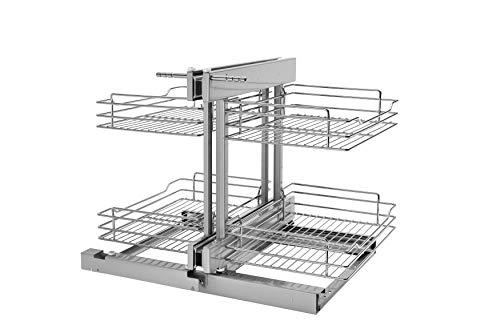 Rev-A-Shelf - 5PSP-18-CR - 18 in. Blind Corner Cabinet Pull-Out Chrome 2-Tier Wire Basket Organizer by Rev-A-Shelf