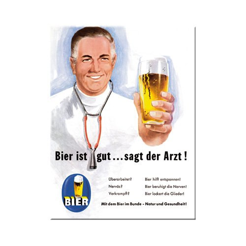 Nostalgic-Art 14114 Open Bar - Bier ist gut... sagt der Arzt, Magnet 8x6 cm -