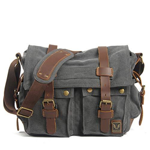 Canvas Leder Herren Messenger Bags Big Satchel Umhängetaschen Laptop Aktentasche Reisehandtasche Dark Grey - Grau Laptop Attache