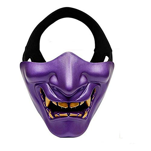 Yuahwyehe Devil Horror Smiley-Maske Perfekt Für Eine Spaßige Erinnerung,Halloween, Weihnachten, Ostern, Karneval, Kostüm-Partys, Themen-Partys Oder Einfach Den Gang in Einen Nachtclub,Lila (Kostüm Party Themen Für Jugendliche)