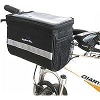 Welltop della bicicletta carrello manubrio Borsa Borsa bici con Silver Grey riflettente banda esterna Attività Bicicletta pack Accessori nero 3.5L