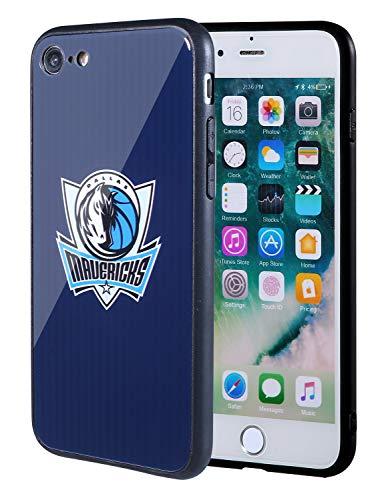 The Mass iPhone 8 Hülle, iPhone 7 Hülle, NBA Team Logo auf gehärtetem Glas, Rückseite aus weichem TPU-Rahmen für Apple iPhone 8/7, 4.7 Inch, Dallas Mavericks - Maverick Glas