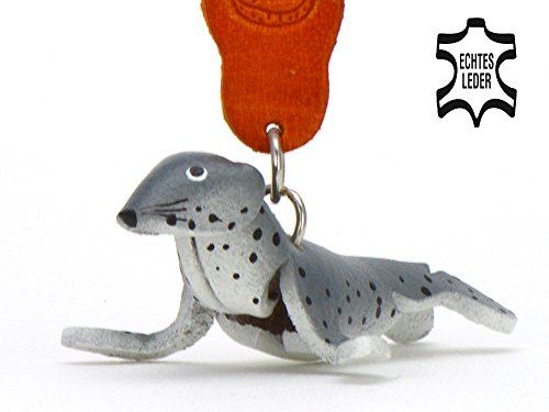 Robbe Robby - Deko Schlüsselanhänger Figur aus Leder in der Kategorie Kuscheltier / Stofftier / Plüschtier / Glubschi von Monkimau in grau - Dein bester Freund. Immer dabei! - ca. 5cm klein