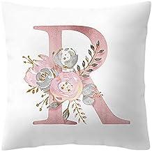 DIPOLA Almohada Carta de 45x45 cm. Decoración de la habitación con Flores Infantil Alfabet,