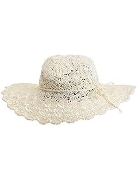 YOUJIA Sombreros de Paja de Sol, Plegable Respirable Ala Ancha Playa Gorra Para Mujer