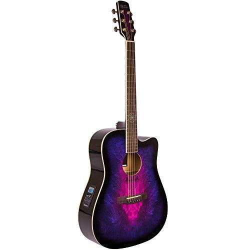 (Lindo Swallow Elektroakustische Gitarre (mit F-4T Vorverstärker, Digitaltuner mit XLR und Klinken-Output, Transporttasche) Violett)