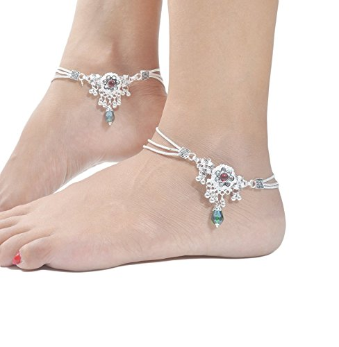 Charms Diva Silver Alloy Anklet For Women
