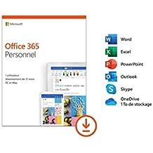 Microsoft Office 365 Personnel | 1 utilisateur | 1 an | PC ou Mac | téléchargement (envoi par email)