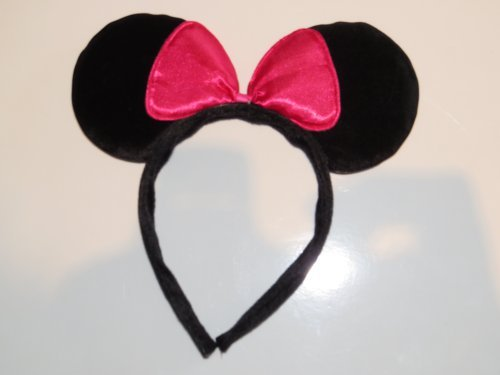 BEAUTIFUL BLACK MINNIE MOUSE EARS WITH BOW - ON HEADBAND - FOR HEN FANCY DRESS DRESSING UP by Manchester (Fancy Dress Von Manchester)