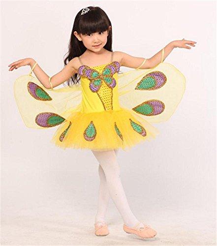 Kindertag Ballett Bühnen Performance Kostüm / Kinder Tanz Requisiten Flügel Kleid , 160cm , yellow (Ballett Kostüm Flügel)