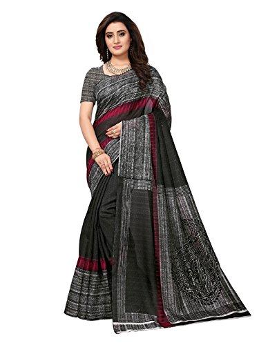 Kanchnar Women's Black Color Bhagalpuri Silk Printed Saree-761S92
