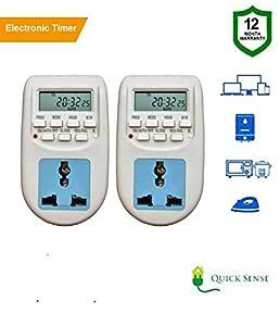 Quick sense (Qs-T1) : 230 Volt (24x7) Digital Programmable Timer Electronic Timer/Energy Saving Socket Type(Timer Switch(Set of 2))