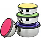 SKI Stainless Steel Food Storage Containers With Lids Metal Lunch Containers Bento BPA Free Nontoxic Dishwasher Safe 4 Color Set 4.5 - 5.5 - 6.5 And 7.0 Inch ( Set Of 4 Pieces )