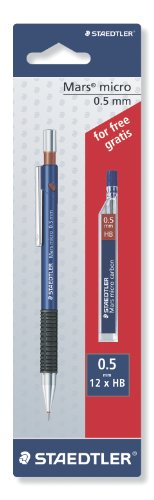 Staedtler Mars Micro – Portaminas (incluye tubo de minas 0.5 mm HB), color azul