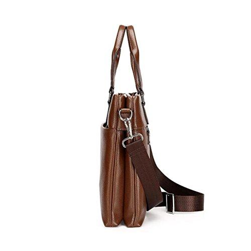 Männer Handtasche Umhängetasche Messenger Tasche Leder Tasche Aktenkoffer Computer Tasche Business Paket Freizeit Wild Brown2