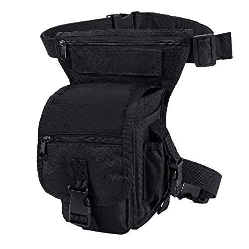Faletony Damen Herren Militär Beintasche, Outdoor Tactical Hüfttasche Oberschenkeltasche Schenkel Tasche Molle Wasserdicht Leg Bag für Motorrad Camping, Camouflage/Schwarz (Schwarz)