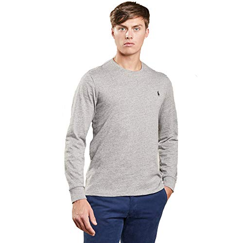 Ralph Lauren Herren Langarm T-Shirt Custom Fit (L, Grau)