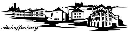 Wandtattoo Skyline Aschaffenburg XXL Text Stadt Wand Aufkleber Wandsticker Wandaufkleber Deko sticker Wohnzimmer Autoaufkleber 1M286, Skyline Größe:Länge 200cm
