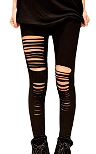 Sexy Ripped Stretch Leggings Punk Low Rise Render Pants for punk and goth fancy dress