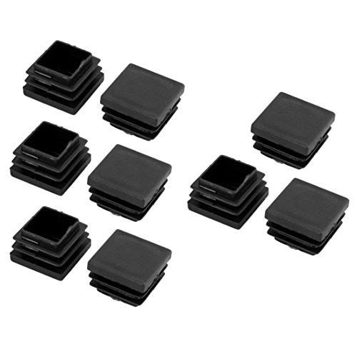 sourcingmap® 9Stk. Büro Gummi Möbeln Tisch Beinschutz Bein Kappe Schutzhülle schwarz 30x30mm (Gummi-kappe)