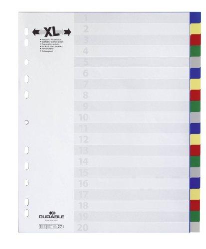 Durable 675927 Register aus Kunststoff mit farbigen Taben, Überbreite, 20-teilig